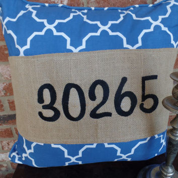 "Burlap Pillow Wrap  for a 16"" or 18"" pilow with your zip code embroidered"