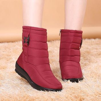 Snow Ankle Boots Female Zipper Down Winter Anti Skid Waterproof Boots