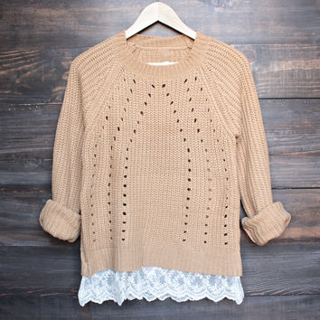 aspen open knit sweater with lace hem in tan