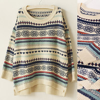 Geo Knitted Slit Pullover Sweater