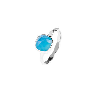 Silver Stacking Ring Blue Chalcedony