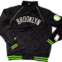 Brooklyn Nets Majestic NBA Tricot Track Jacket w/ Neon Accents Size LT