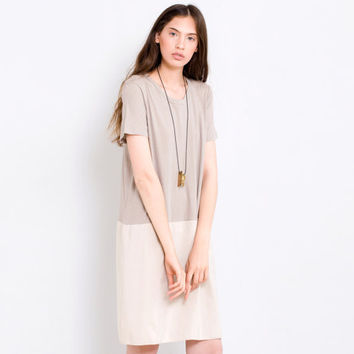 Beige Cocktail dress loose fit light casual sundress