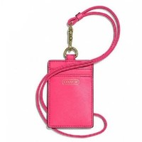 Coach Darcy Lanyard ID Badge Holder Case Leather Pomegranate