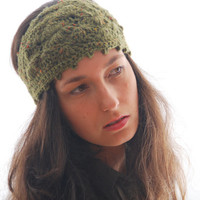 Green headband, wool headband, crochet ear warmer, fashion headband, autumn fall headband, merino wool  headband, hippie boho headband