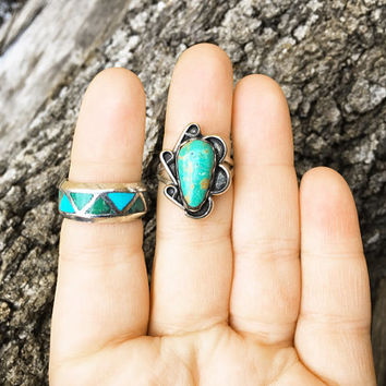 Vintage Sterling Silver Turquoise Ring Lot / Size 6 / Southwestern Jewelry / Native American Indian / Boho Bohemian Rings