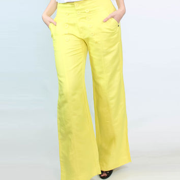 Sailor-Buttoned Wide-Leg Trousers