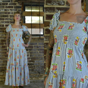 Vintage 70's Prairie Holly Hobbie Gunne Sax Style Bohemian Cotton Maxi Dress