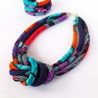 Chunky Knot necklace - Bold Colorful Fabric Orange Purple Handmade
