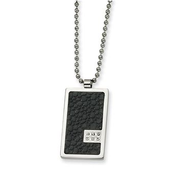 Men's Steel and Stingray Textured Dog tag Necklace with Diamonds