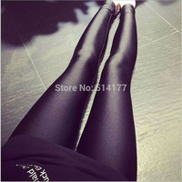 2016 New Fashion Shiny lycra Leggings Pants High Elastic Casual Black Pencil Pants Skinny Hip Hop Women  Ankle-Length Pants