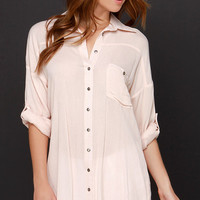 Dee Elle Daydreamer Blush Pink Button-Up Tunic Top