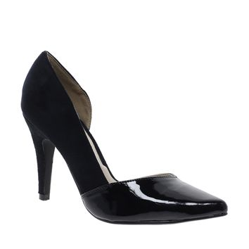 London Rebel Black Micro Suedette Cut Out Heeled Shoe