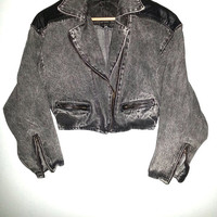 80s Vintage Acid Washed Denim Jacket Cropped by Fancy Ass Jean with Batwing Sleeves Vegan Leather Shoulders Biker Classic Size Small