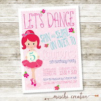 "Little Girls Ballet Dance Party Birthday DIY Printable Invitation - 5"" x 7"""