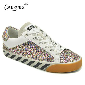 CANGMA Stylish Women Sneakers Sequined Flats Glitter Pink Breathable Shoes Suede Genuine Leather Shoes Female