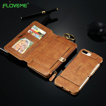 FLOVEME For iPhone 7 Case Luxury Retro Soft Leather Protective Card Holder Phone Case for iPhone 5 5S SE 6 6S 7 Plus Case Cover