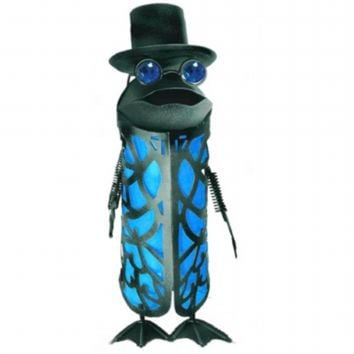 SheilaShrubs.com: Solar Garden Butler Frog with Tophat Blue Light R222GEMBX by Garden Meadow: Garden Ornaments