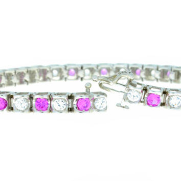 4.3 Carat Pink & White Sapphire Bracelet .925 Sterling Silver