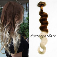 Chocolate Brown to Platinum Blonde Two Colors Ombre Hair Extension, 18 Clips Full Head Indian Remy Clip in Hair Extensions RHS255