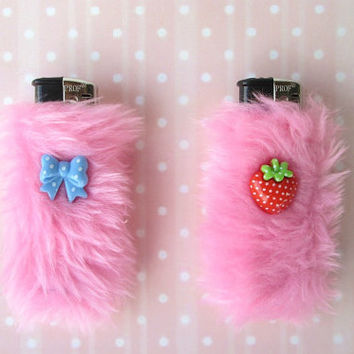 Pastel Goth Best Friend Furry Lighter Cases, Kawaii Fuzzy Cute Bic Lighter Covers Set, BFF, Bestfriend, Pale Grunge, Sweet Lolita, Faux Fur