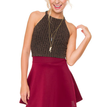 Leslie Crop Top - Brown