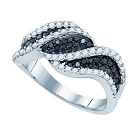 Black Diamond Fashion Ring in 10k White Gold 1.03 ctw