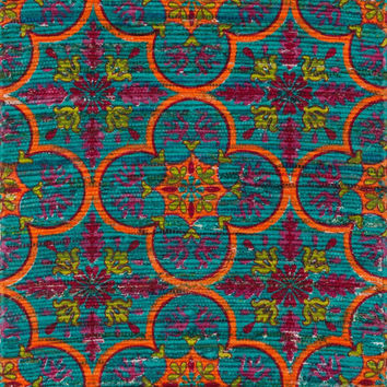"Aria Blue / Orange 3'0"" X 3'0"" Round Rug"