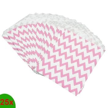 25Pcs/set Home Kitchen Candy Bag Stripe Treat Bags Wedding Birthday Party Favors Gifts Paper Bags