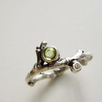 Peridot & Diamond Silver Twig Ring