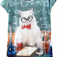 Professor Cat Print Graphic Tee