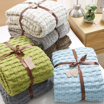 Aircondition double size blanket  special for summer, acrylic comforter   ,wearable blanket , Plaid Throws Blanket On the Bed