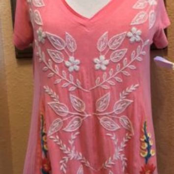 Soft Surroundings Embroidered Floral Swing Top Boho Tunic NWOT