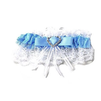 White and Blue Wedding Garter with Heart Shaped Rhinestone for Bride