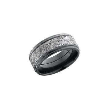 Black Zirconium and Meteorite Band Ring with 14K Rose Gold Inlay