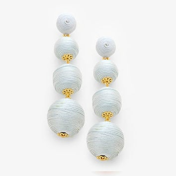 Graduated Threaded Ball Earrings - silver