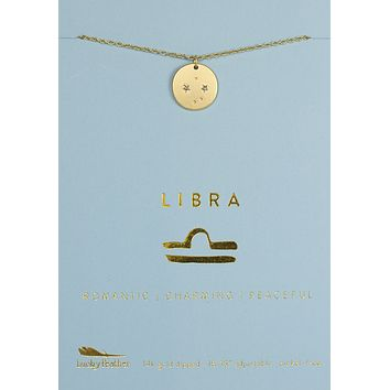 Lucky Feather Libra Zodiac Sign Constellation Necklace