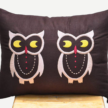 Twin Owls Lumbar Pillow Cover  12 x 16 Decorative by KainKain