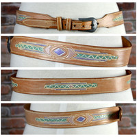 Silver Creek Collection Leather Belt Southwestern 32