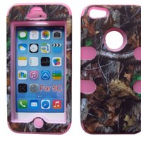 HYBRID 3 IN 1 TUFF DEFENDER TREE OAK CAMO HUNTER IPHONE 5C COVER CASE PINK SOFT SILICONE INSIDE AND HARD PLASTIC RUBBERIZED FRONT and BACK COVERS OUTSIDE