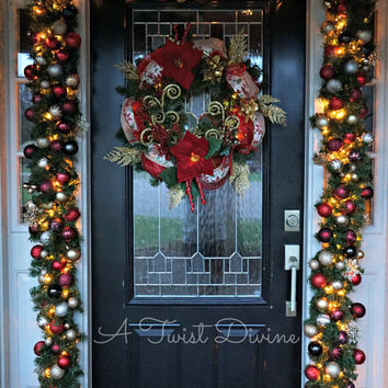 FREE SHIPPING Custom Light Up Bulb Christmas Garland (Other Colors Available) -Light Up Christmas Garland, Garland with Lights, Door Garland