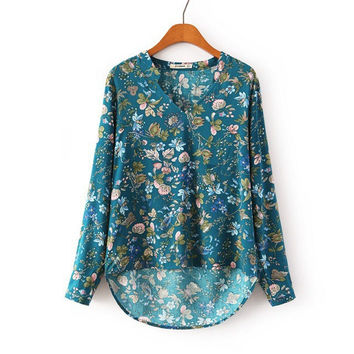 Women's Fashion V-neck Print Pullover Shirt [5013305732]