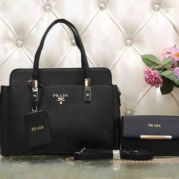 PRADA Women Fashion Leather Satchel Tote Handbag Crossbody Set Two-Piece