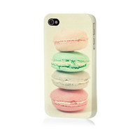 Four Macarons. iPhone Hard Case for 4/4S or 5/5S. Retro Food Photograph. Pastel Macaroon Art