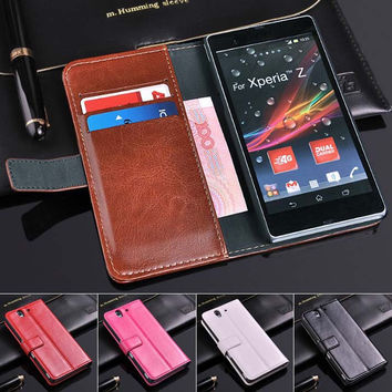 Luxury Stand Wallet Design PU Leather Case for SONY Xperia Z L36h C6603 C6602 Mobile Phone Crazy Horse Veins Leather Cover