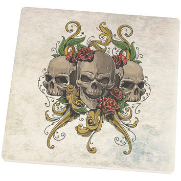 Skulls and Roses Tattoo Set of 4 Square Sandstone Coasters