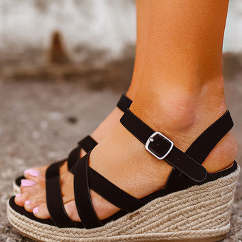 Strappy Wedges- Black