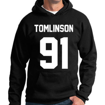 One Direction Hoodie Louis Tomlinson 91 Hooded Sweatshirt Logo Black White Gray Red Maroon Unisex Hoodie Tee S,M,L,XL #3