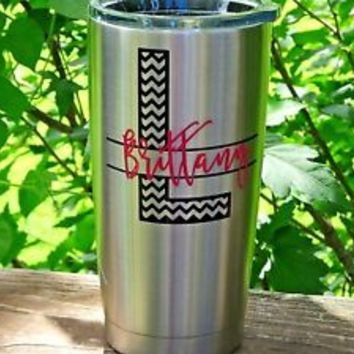 Custom Monogram Initial Vinyl Decal for Yeti Rambler, RTIC, Ozark Trails,Tumbler