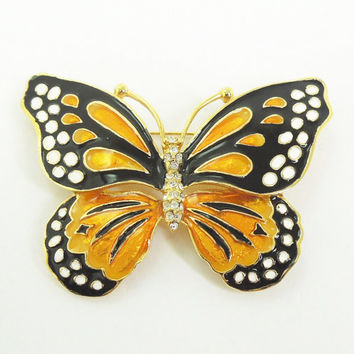 Kenneth Jay Lane enamel rhinestone monarch butterfly pin brooch - KJL jewelry